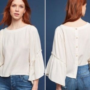 Anthro Floreat White Gold Striped Bell Sleeve Top